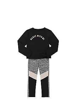 F&F Foil Slogan Sweatshirt and Leggings Set - Black