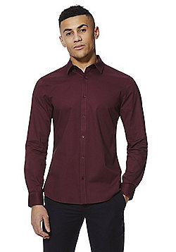 F&F Stretch Long Sleeve Shirt - Wine