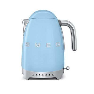 Smeg KLF04PBUK Variable Temperature 1950's Retro Style Kettle in Pastel Blue, Cordless