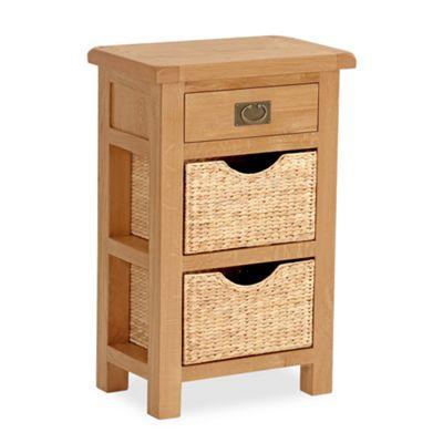 Zelah Oak Telephone Table With Baskets