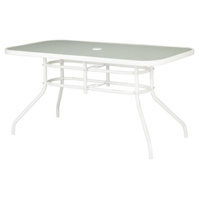 Seville Rectangular Glass & Steel Garden Table, White