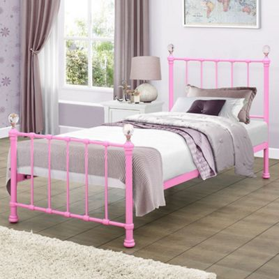 Happy Beds Jessica Metal Kids Bed with Open Coil Spring Mattress - Pink - 3ft Single