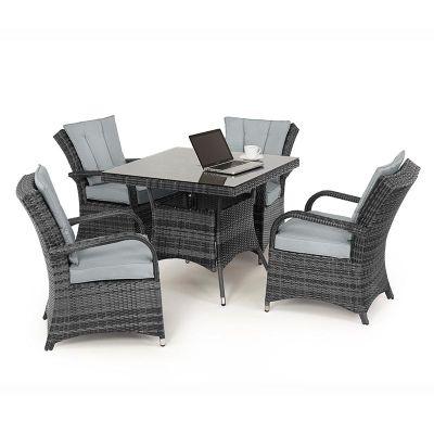 Maze Rattan - Texas 4 Seat Dining Set - 90cm Square - Grey