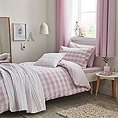 Little Bianca Cotton Soft Gingham Cotton Print Blush Duvet Cover Set - Pink
