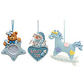 3pc Set of Baby Boy's 1st Christmas Tree Ornaments