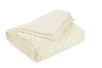 EHC Hand Woven Adult Cellular Blanket, Cream
