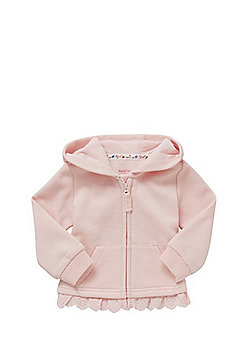 F&F Frill Trim Zip-Through Hoodie - Blush Pink