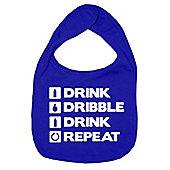Dirty Fingers Drink Dribble Drink Repeat Baby Bib Royal Blue