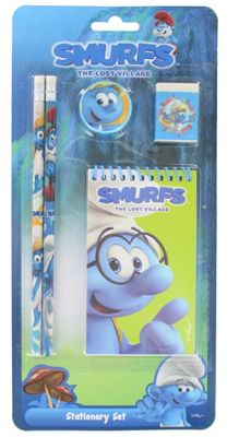 Smurfs 5 Piece School Stationery Set with 2 Pencils, Sharpener, Rubber & Notepad