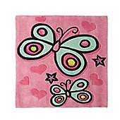Kiddy Play Butterfly Pink 90x90cm Rug