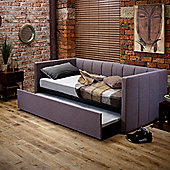Happy Beds Cooper Fabric Day Bed and Underbed Trundle Guest Bed - Grey - 3ft Single