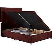 Luxan Harvard Ottoman Divan Base - Mulberry Velvet Fabric - Small Single 2ft6