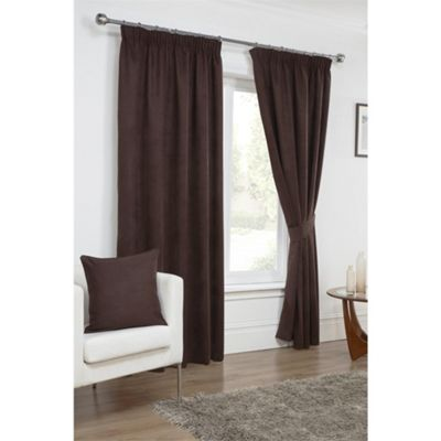 Hamilton McBride Chocolate Faux Suede Pencil Pleat Curtains - 46x54 Inches (117x137cm)