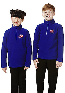 Unisex Embroidered Half Zip School Fleece - Bright royal blue