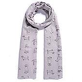 Grey Dog Metallic Foil Print Scarf