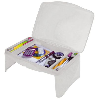 White Portable Foldable Kids Lap Desk with Storage Compartments