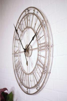 Medium Silver Iron Skeleton Wall Clock
