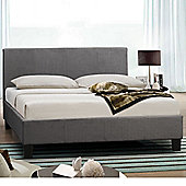 Happy Beds Berlin Fabric Low Foot End Bed with Orthopaedic Mattress - Grey - 4ft6 Double