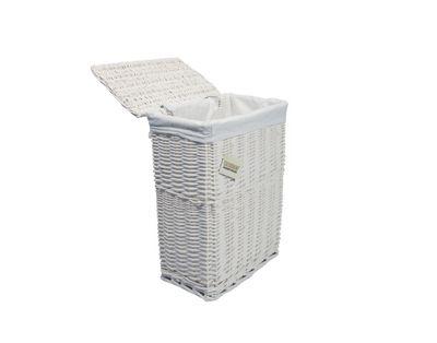 Woodluv White Wicker Rectangular Laundry Basket - Medium