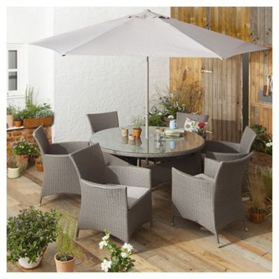 tesco san marino 8 piece rattan garden dining set grey