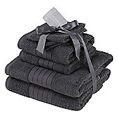 Dreamscene Luxury Egyptian Cotton 6 Piece Bath Towel Set - Charcoal