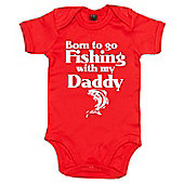 Dirty Fingers Born to go Fishing with my Daddy Baby Bodysuit - Red