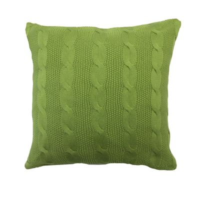 Highams Cable Knit Cushion Cover Unfilled 43 x 43 cm - Green