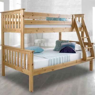 Happy Beds Atlantis Wood Kids Triple Sleeper Bunk Bed with 2 Pocket Spring Mattresses - Pine - 4ft Small Double