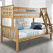 Happy Beds Atlantis Solid Pine Wooden Triple Sleeper Bunk Bed 2 Pocket Sprung Mattresses
