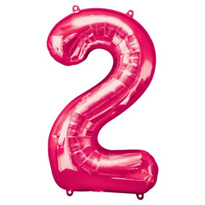 Pink Number 2 Balloon - 34 inch Foil