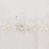 Battery Operated Metal Snowflake String Lights 10 White