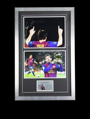 Lionel Messi Signed FC Barcelona Framed Football Photo 2 - Photo Proof & COA