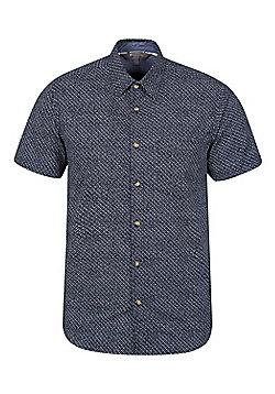 Mountain Warehouse Cactus Mens Printed Short Sleeved Shirt - Blue