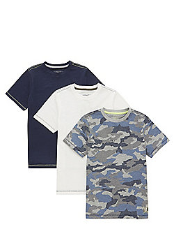 F&F 3 Pack of Plain and Camo Print T-Shirts - Multi