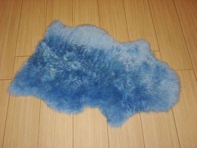 Bowron Sheepskin Long Wool Gold Star Rug in Cornflower Blue - 95cm H x 57cm W (One Piece)