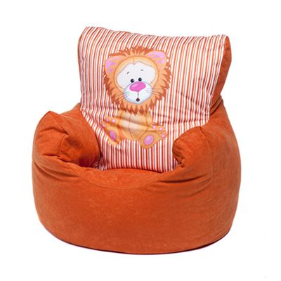 Orange Lion Children's Character Micro Suede Bean Bag Chair