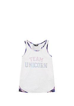 F&F Active Team Unicorn Slogan Vest - White