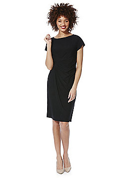 Roman Originals Jersey Drape Front Dress - Black