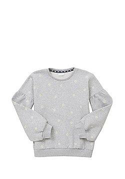 F&F Daisy Puff Sleeve Sweatshirt - Grey