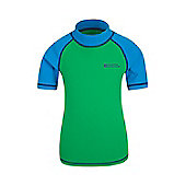 Mountain Warehouse Boys Rash Vest SPF50+ Treatment with Flat Seams for Swimming - Green
