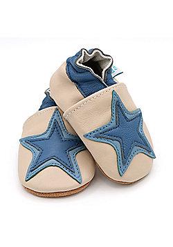 Dotty Fish Soft Leather Baby Shoe - Cream and Denim Blue Star - Cream