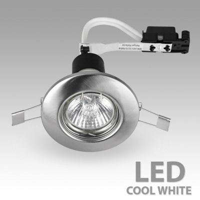Recessed Daylight LED GU10 Downlight, Brushed Chrome