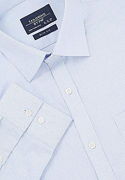 F&F Fine Stripe Slim Fit Long Sleeve Shirt - Blue