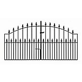 Wrought Iron Style Spear Top Arched Driveway Gate 366x125cm