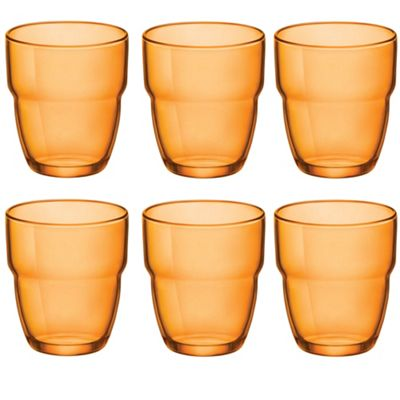 Bormioli Rocco Modulo Stacking Water / Juice Tumbler Glasses - 305ml - Orange - Set of 6