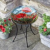 Hand-Painted Poppy Glass Birdbath