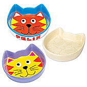 Porcelain Cat Bowls to Design Paint and Personalise - Creative Craft Set for Children (Box of 2)