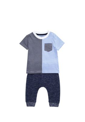 F&F Mixed Stripe T-Shirt and Joggers Set Blue 3-6 months