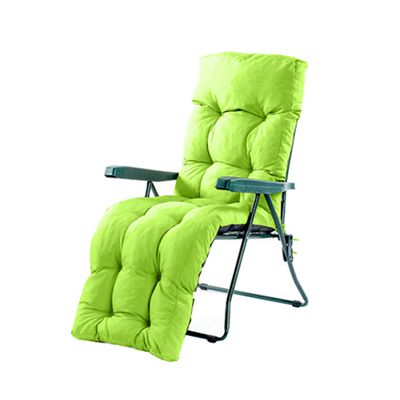 Gardenista Tufted Relaxer / Lounger Chair Seat Pad in Water Resistant Fabric with Ties - Lime