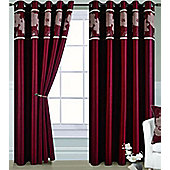 Dahlia Eyelet Curtains 90 x 90s - Red and Gold